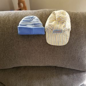 Giraffe and Blue Striped Baby Hats